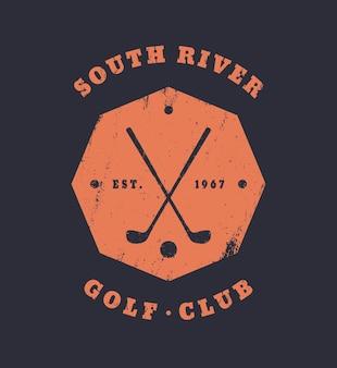 Emblema octogonal vintage do grunge do clube de golfe