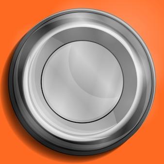 Emblema ou botão brilhante cinza em branco