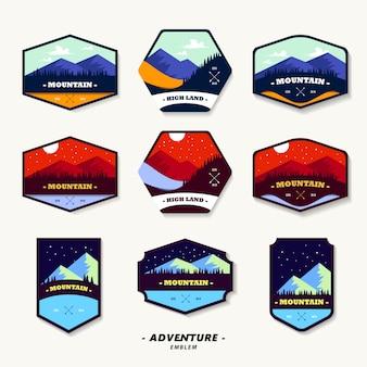 Emblema para aventura na montanha