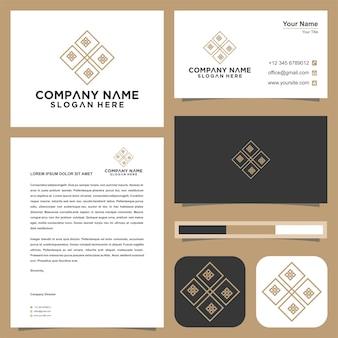 Emblema para logotipo de butiques de luxo e cartão de visita premium
