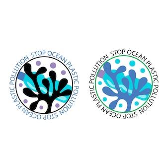 Emblema pare a poluição de plástico do oceano ícones redondos contra a poluição do oceano, algas, garrafas de plástico