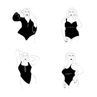 Emblema positivo do corpo. figura feminina minimalista abstrata.