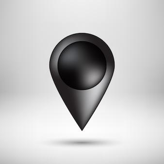 Emblema preto do ponteiro do mapa da bolha