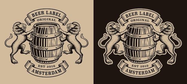 Emblema preto e branco da cervejaria com um barril e leões