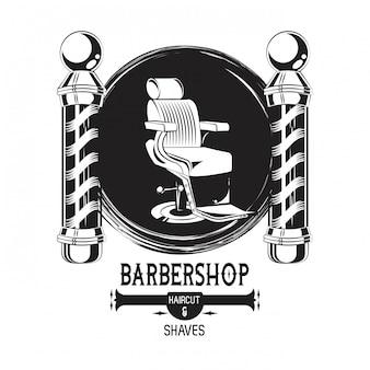 Emblema preto e branco vintage de barbearia