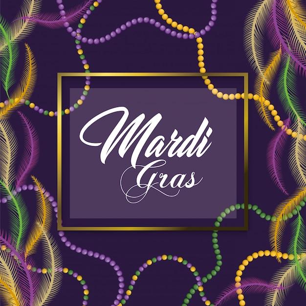 Emblema quadrado com decoração de colar para merdi gras