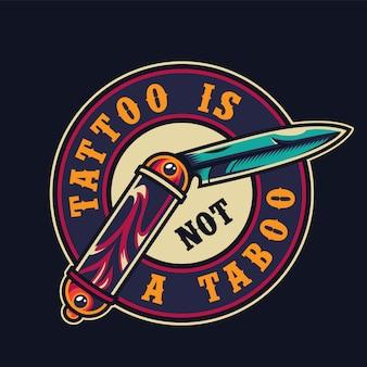 Emblema redonda colorida de salão de tatuagem vintage