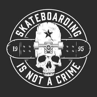 Emblema redonda monocromática de skate vintage