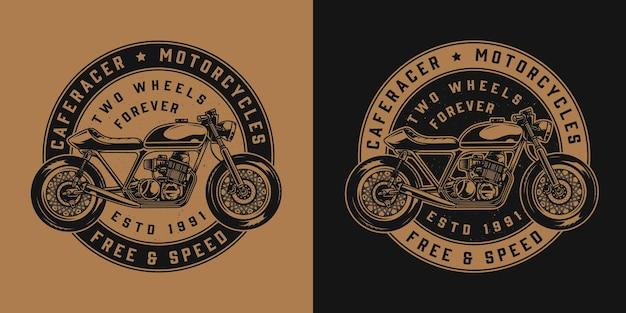 Emblema redondo de motocicleta vintage com motocicleta cafe racer em estilo monocromático