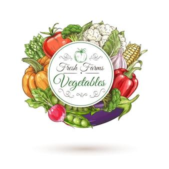 Emblema redondo de vegetais, rodeado por tomate