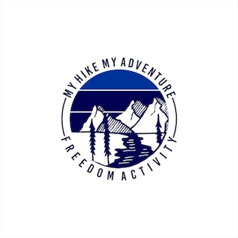 Emblema redondo do logotipo da montanha