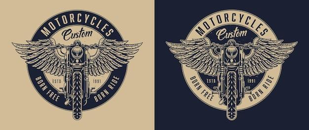 Emblema redondo vintage personalizado de motocicleta com vista frontal de motocicleta alada em estilo monocromático