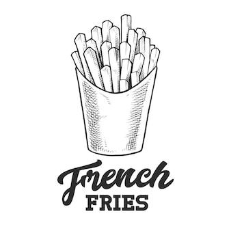 Emblema retro batatas fritas. modelo de logotipo com letras em preto e branco e esboço de batatas fritas.