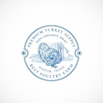 Emblema retrô com moldura de fazenda de peru premium
