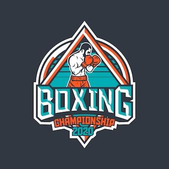 Emblema retrô de campeonato de boxe