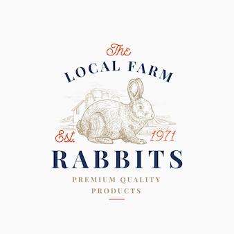 Emblema retrô de fazenda de lebre de carne local ou modelo de logotipo.