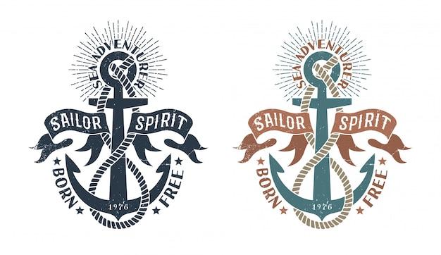 Emblema retrô marinha no estilo de carimbo