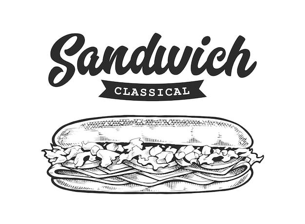 Emblema retro sanduíche. modelo de logotipo com letras em preto e branco e esboço de sanduíche.