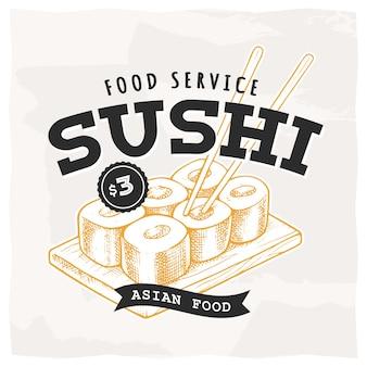 Emblema retro sushi. modelo de logotipo com letras pretas e esboço de sushi amarelo. ilustração do vetor eps10.