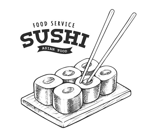Emblema retro sushi. modelo de logotipo com letras preto e brancas e esboço de sushi. ilustração do vetor eps10.