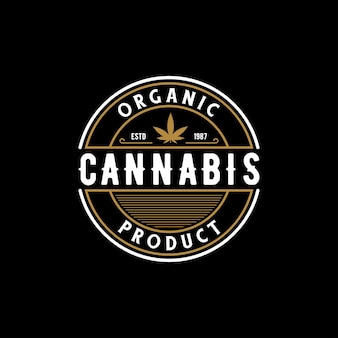 Emblema retro vintage elegante emblema emblema cannabis logo design vector