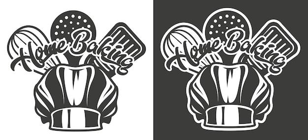 Emblema vintage com o tema da padaria artesanal em duas variantes