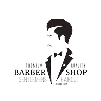 Emblema vintage da barbearia isolado no fundo branco