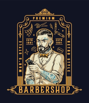 Emblema vintage de barbearia com um estiloso barbeiro barbudo e bigodudo com um cortador de cabelo e várias tatuagens isoladas.