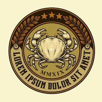 Emblema vintage de caranguejo ou rótulo