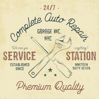 Emblema vintage de estação de serviço