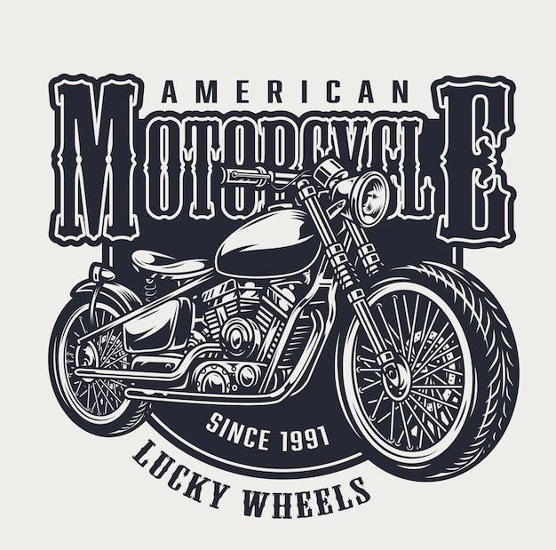 Emblema vintage de motocicleta americana com inscrições e motocicleta clássica em estilo monocromático
