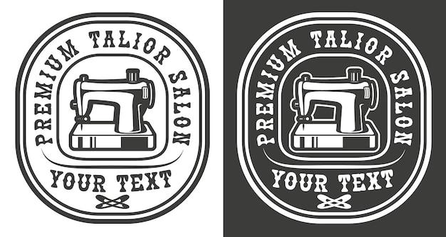 Emblema vintage de um tema de salão de alfaiataria artesanal com máquina de costura
