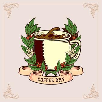 Emblema vintage do dia do café com vidro e fita