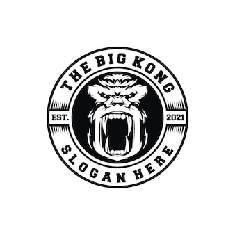 Emblema vintage logotipo macacos emblema etiqueta kong rugido selo com raiva