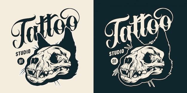 Emblema vintage monocromático de estúdio de tatuagem