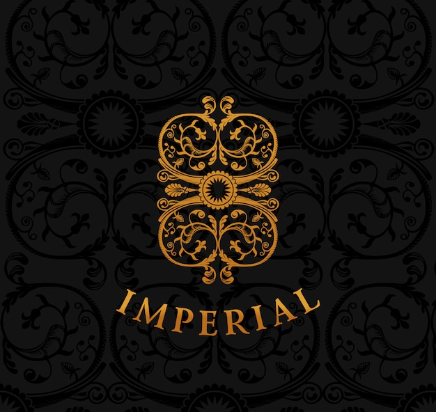 Emblema vintage ouro imperial