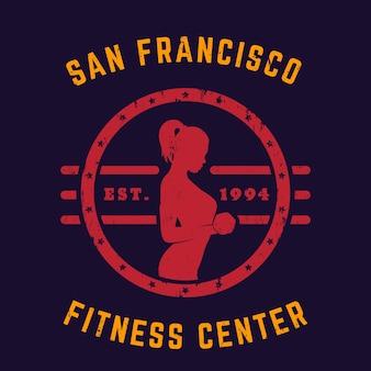 Emblema vintage redondo, com garota se exercitando
