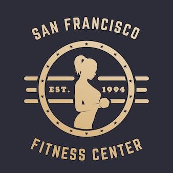 Emblema vintage redondo, logotipo com garota se exercitando, ouro no escuro