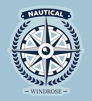 Emblema vintage rosa-dos-ventos náutico