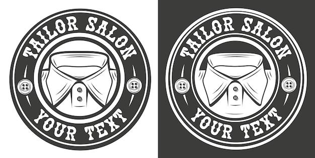 Emblema vintage sobre o tema do salão de costura.