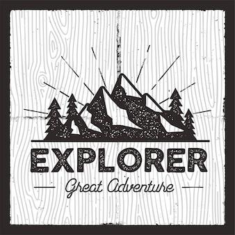 Emblema wanderlust camping.