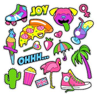 Emblemas, adesivos e adesivos para meninas da moda - pássaro flamingo, papagaio de pizza e coração em estilo cômico. ilustração