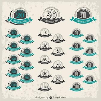 Emblemas aniversário coleção livre