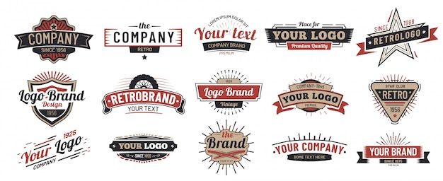 Emblemas antigos. sinal vintage, distintivo premium retrô e conjunto de quadro de emblema de logotipo