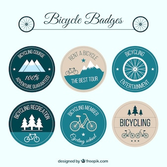 Emblemas arredondados vintage bike