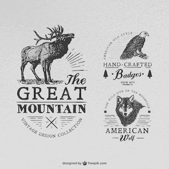 Emblemas artesanais com animais