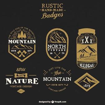 Emblemas artesanais rústicos