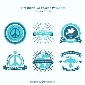 Emblemas azuis para o dia internacional da paz