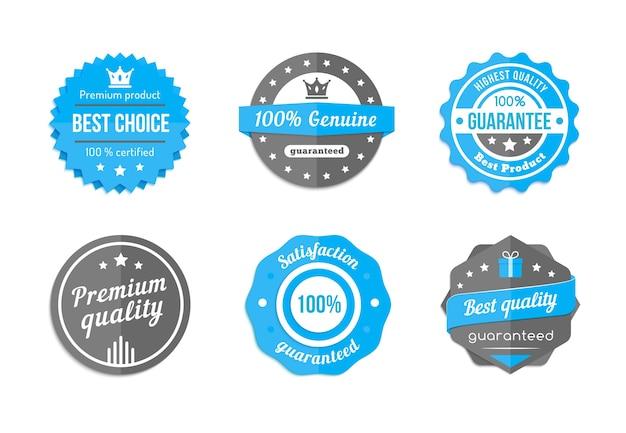 Emblemas azuis vintage de garantia, qualidade e melhor escolha