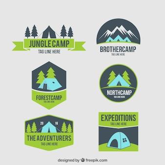 Emblemas barraca de acampamento desenhados mão